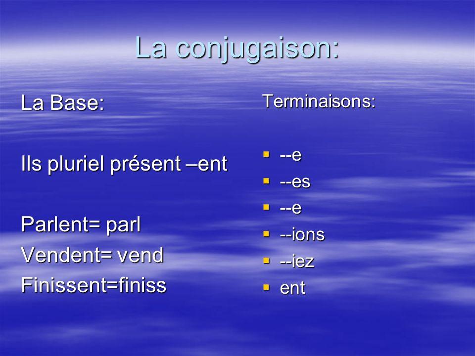 La conjugaison: La Base: Ils pluriel présent –ent Parlent= parl Vendent= vend Finissent=finissTerminaisons: --e --e --es --es --e --e --ions --ions --iez --iez ent ent