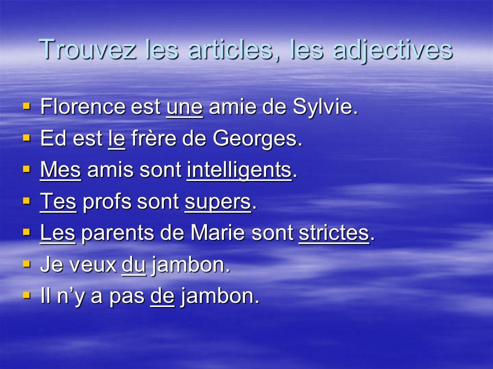 Trouvez les articles, les adjectives Florence est une amie de Sylvie.