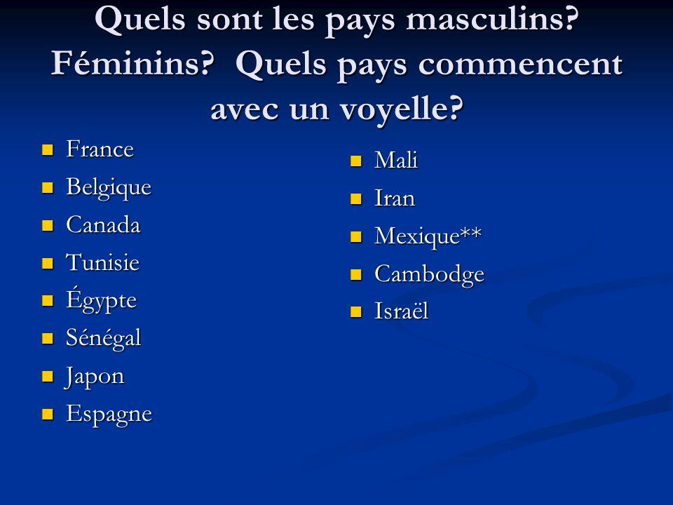Quels sont les pays masculins? Féminins? Quels pays commencent avec un voyelle? France France Belgique Belgique Canada Canada Tunisie Tunisie Égypte É