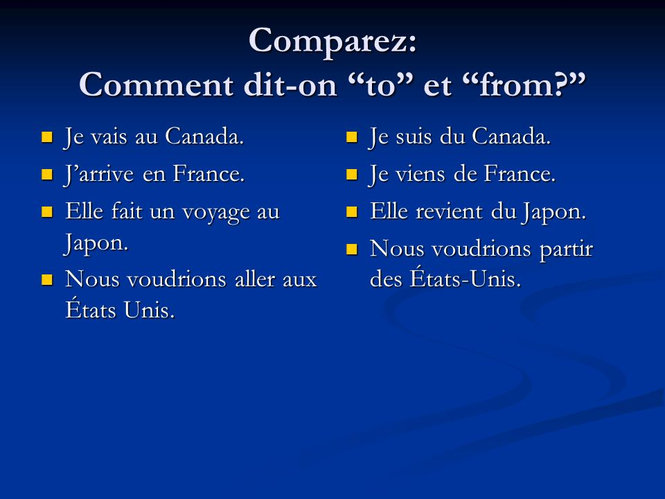 ToFrom ToFrom En En --pays féminin --pays masculin avec voyelle Au Au --pays masculin Aux Aux --pays pluriel De (d) --pays féminin --pays mascuiln avec voyelle Du --pays masculin Des --pays pluriel