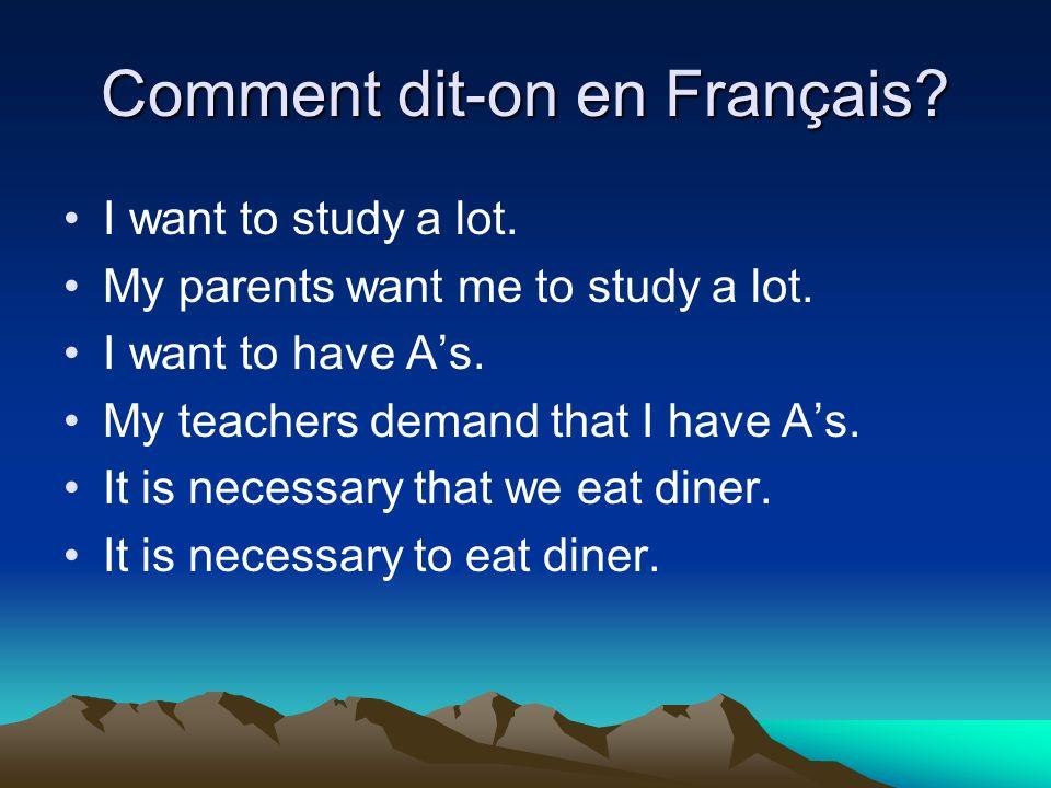 Comment dit-on en Français.Je veux étudier beaucoup.