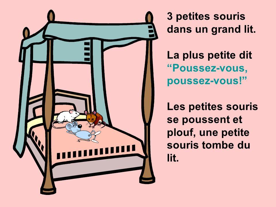 3 petites souris dans un grand lit.La plus petite dit Poussez-vous, poussez-vous.