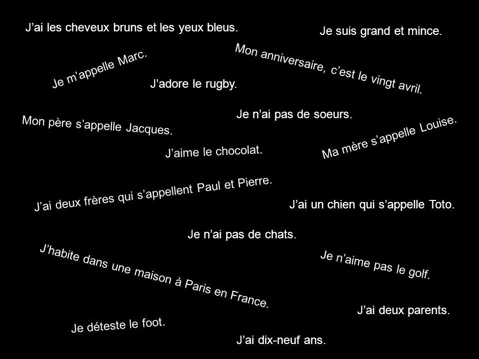 Je mappelle Marc. Jhabite dans une maison à Paris en France. Jai dix-neuf ans. Mon anniversaire, cest le vingt avril. Jai deux parents. Mon père sappe