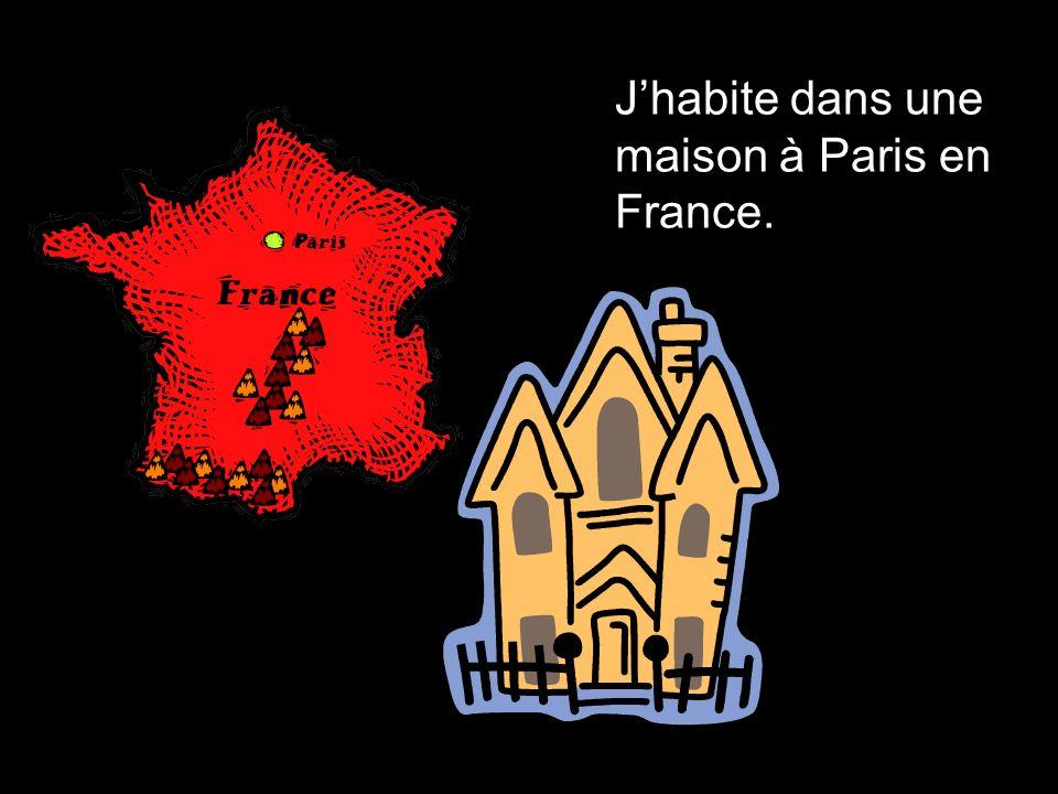 Jhabite dans une maison à Paris en France.