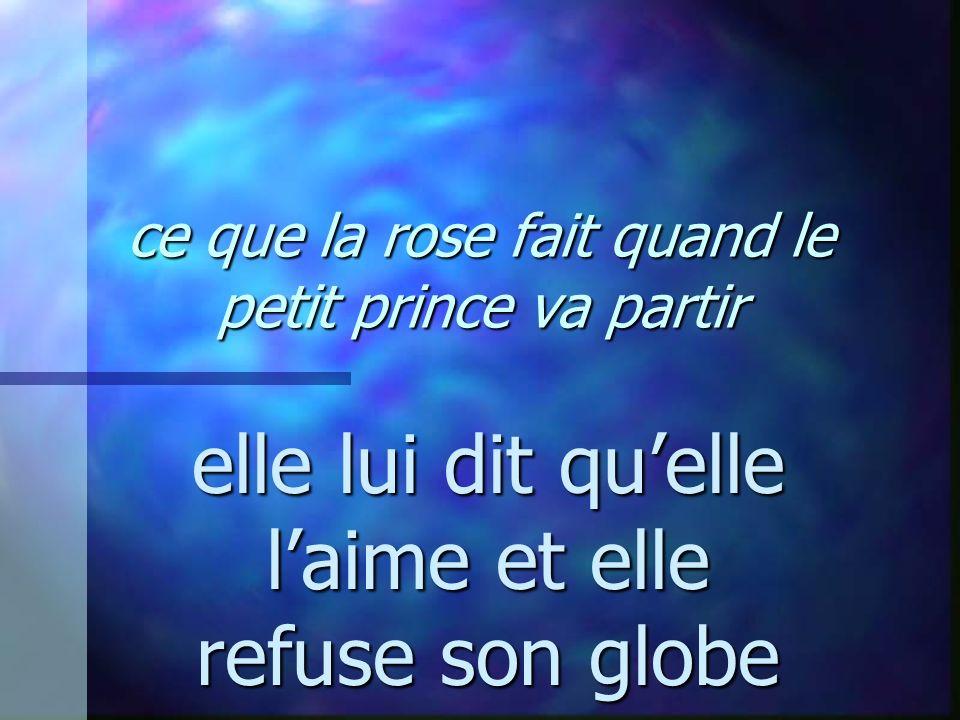 ce que la rose fait quand le petit prince va partir elle lui dit quelle laime et elle refuse son globe