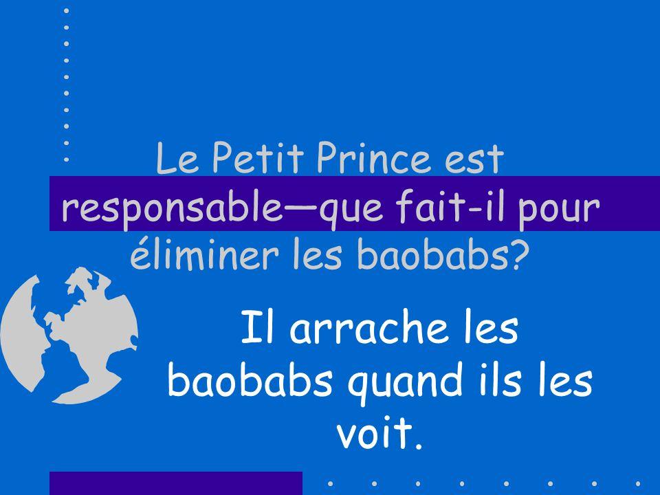 Le Petit Prince est responsableque fait-il pour éliminer les baobabs? Il arrache les baobabs quand ils les voit.