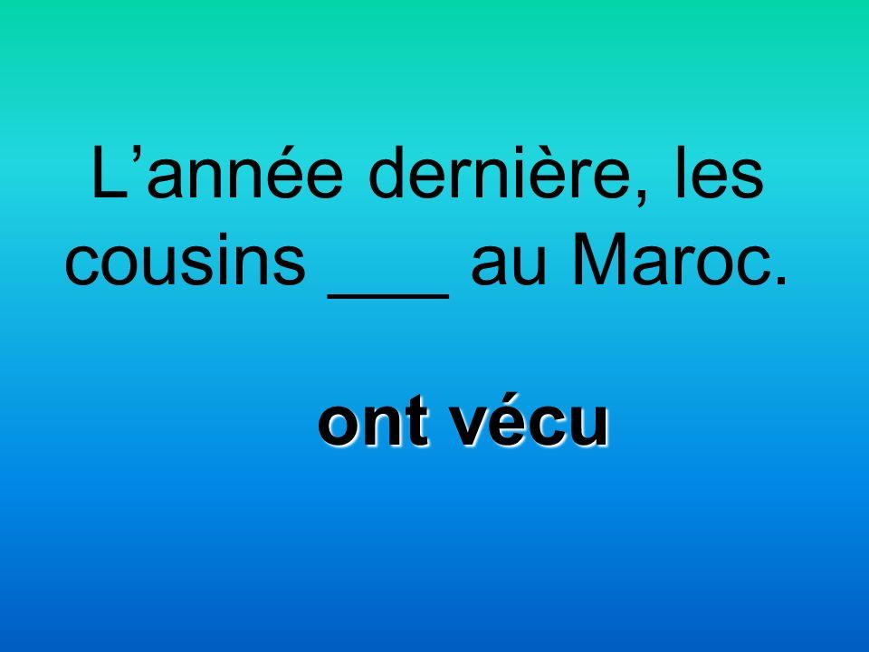 Lannée dernière, les cousins ___ au Maroc. ont vécu