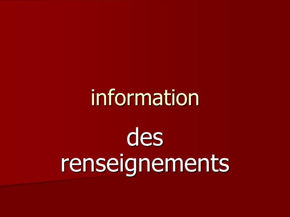 information des renseignements