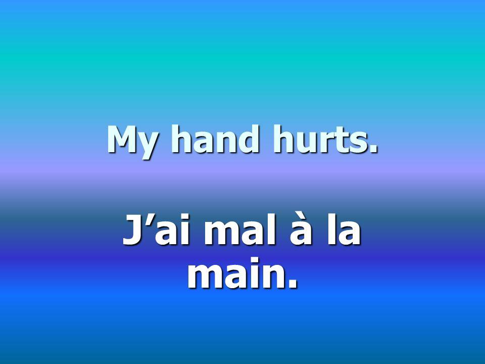 My hand hurts. Jai mal à la main.