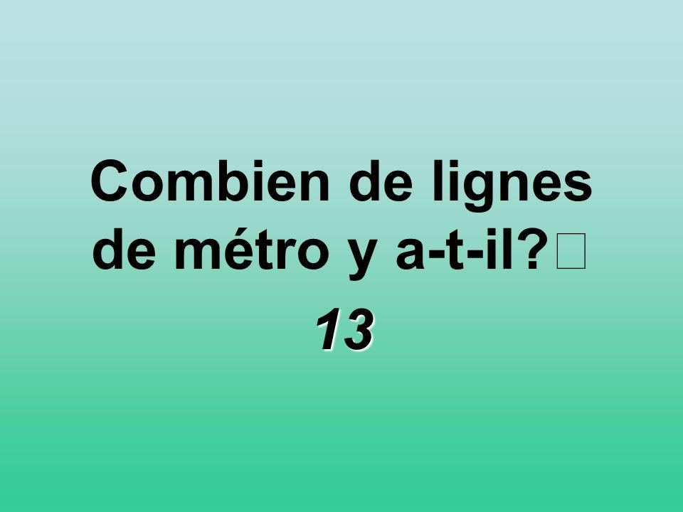 Combien de lignes de métro y a-t-il? 13