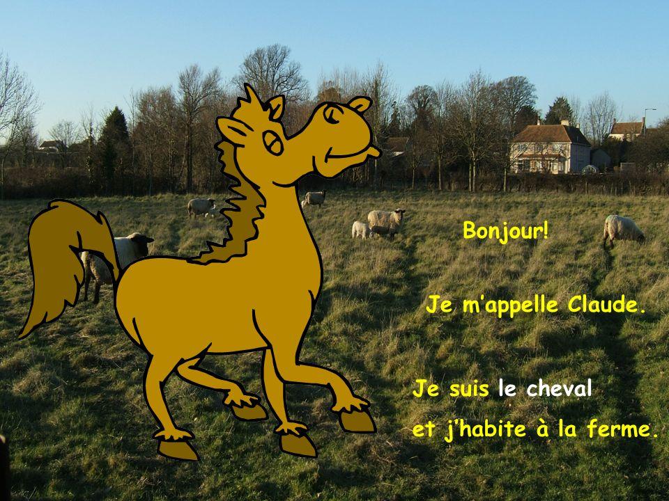 Bonjour! Je mappelle Claude. Je suis le cheval et jhabite à la ferme.