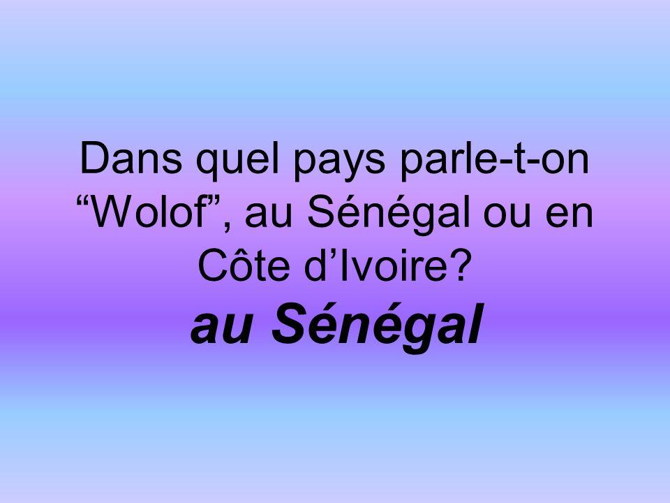 Dans quel pays parle-t-on Wolof, au Sénégal ou en Côte dIvoire au Sénégal