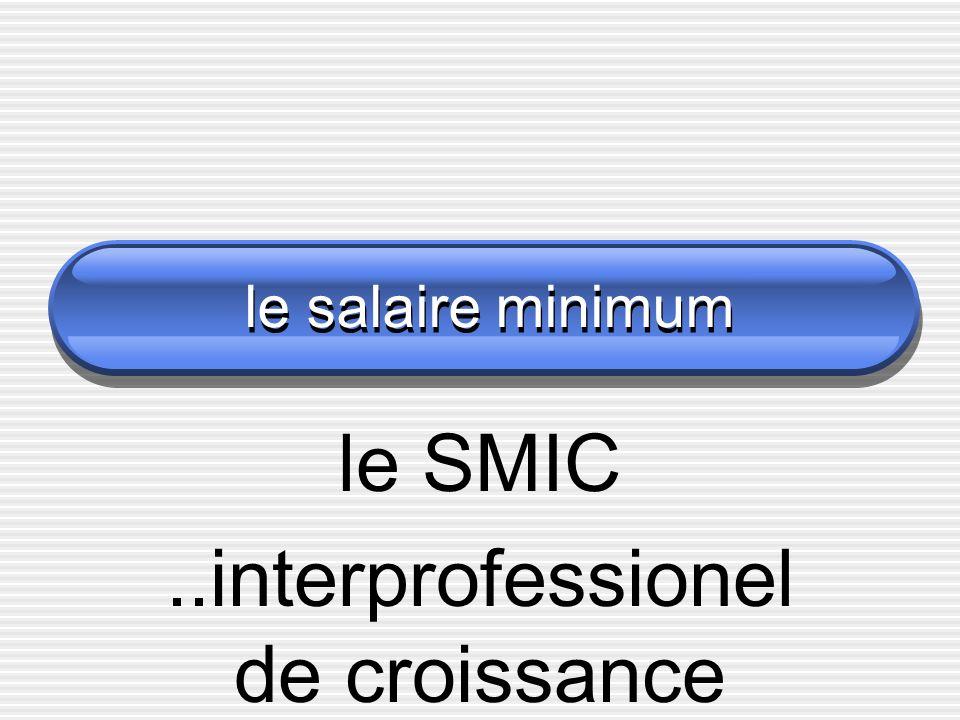le salaire minimum le SMIC..interprofessionel de croissance