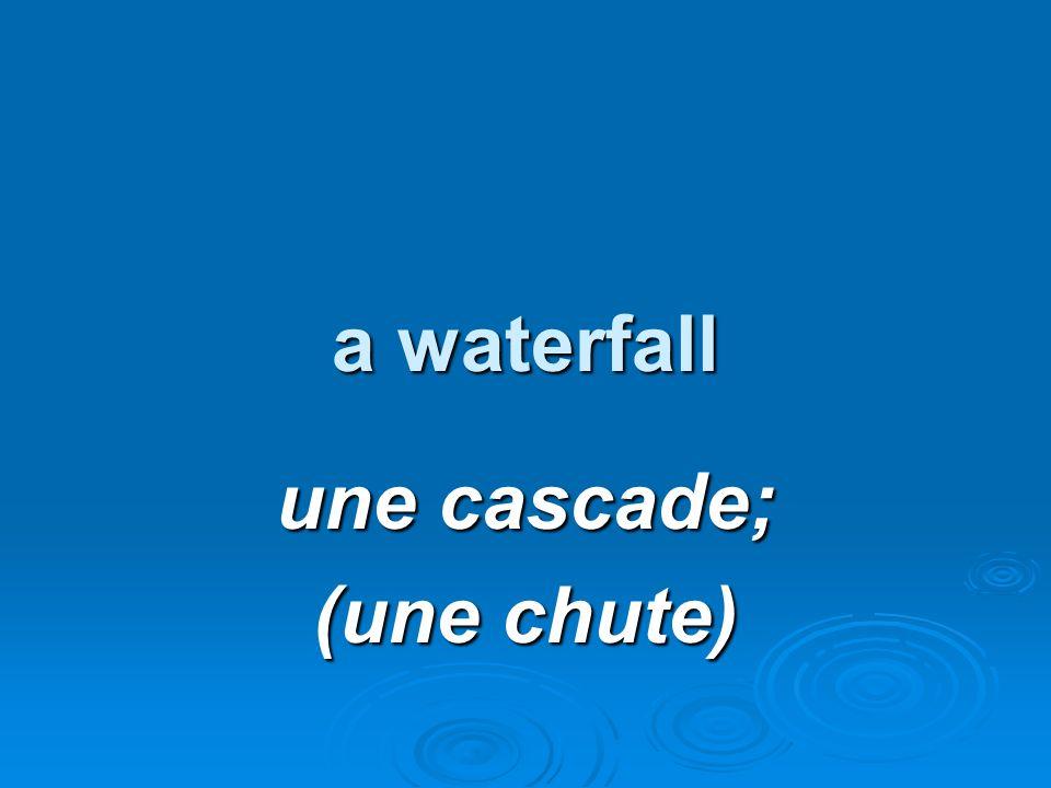 a waterfall une cascade; (une chute)