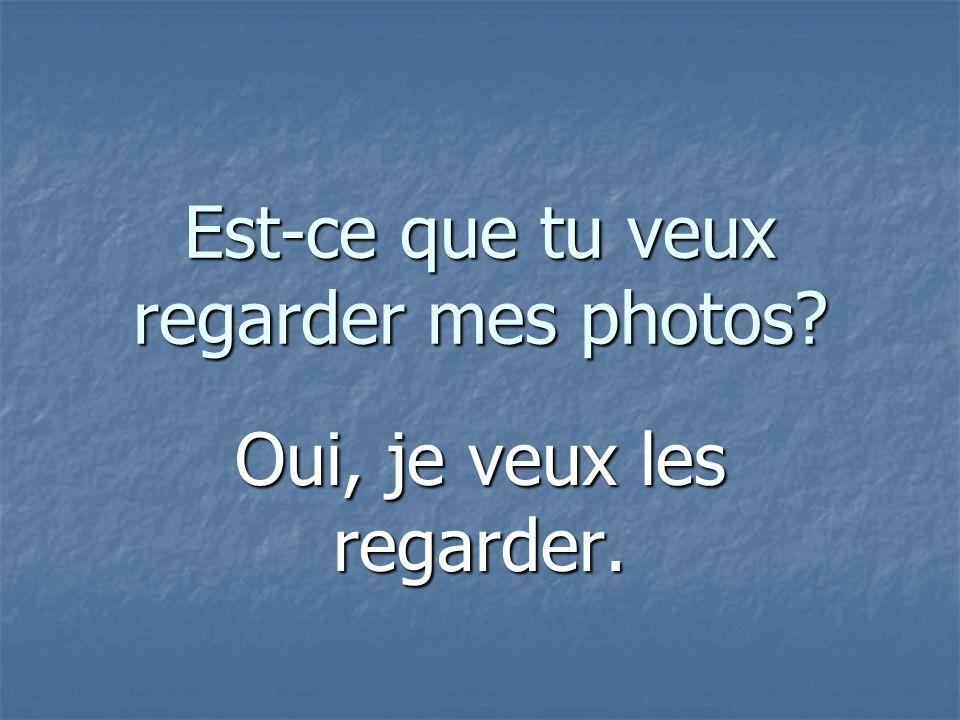 Est-ce que tu veux regarder mes photos Oui, je veux les regarder.