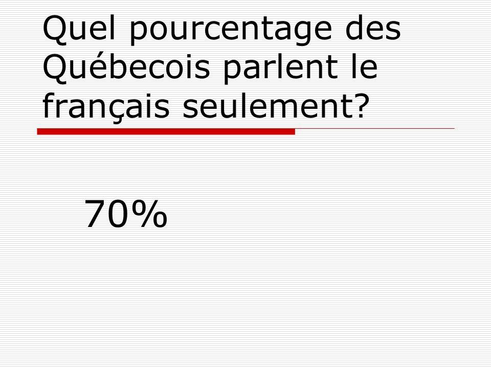 Quel pourcentage des Québecois parlent le français seulement? 70%