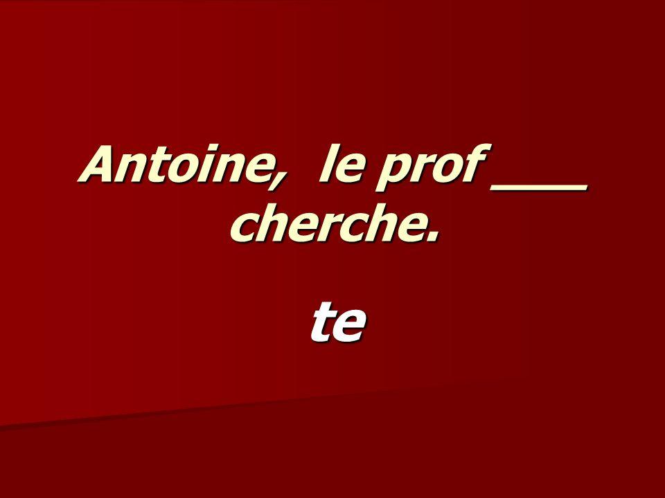 Antoine, le prof ___ cherche. te