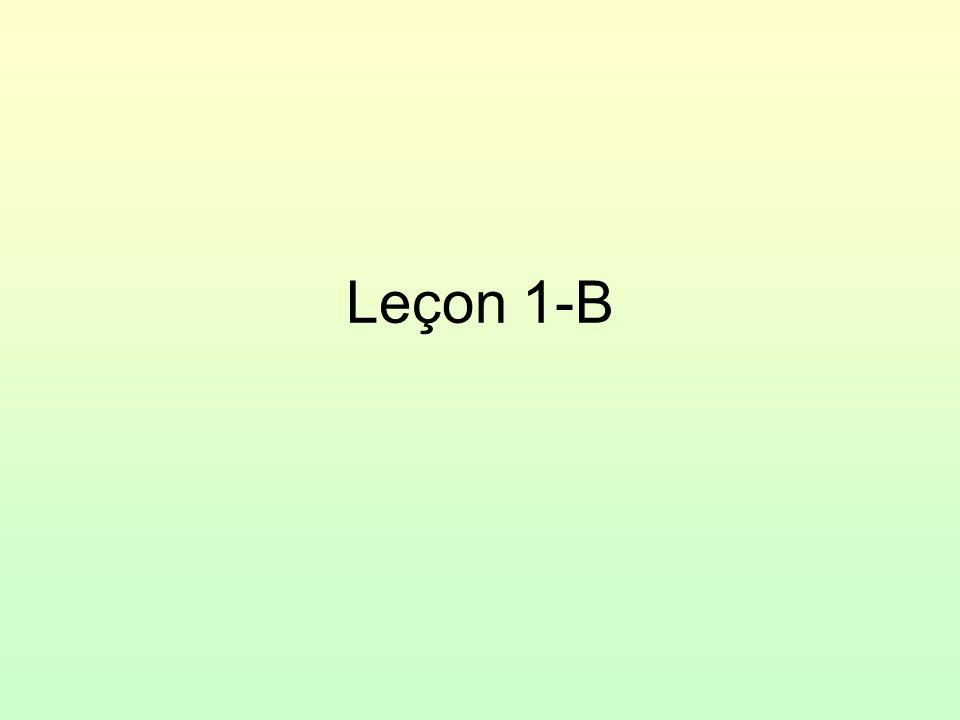 Leçon 1-B