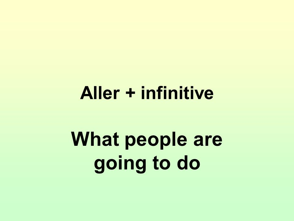Aller + infinitive What people are going to do