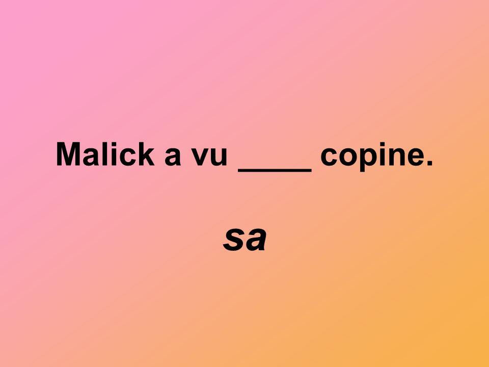 Malick a vu ____ copine. sa