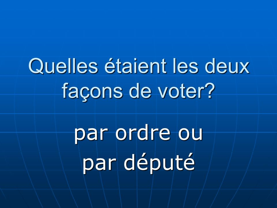 Quelles étaient les deux façons de voter? par ordre ou par député