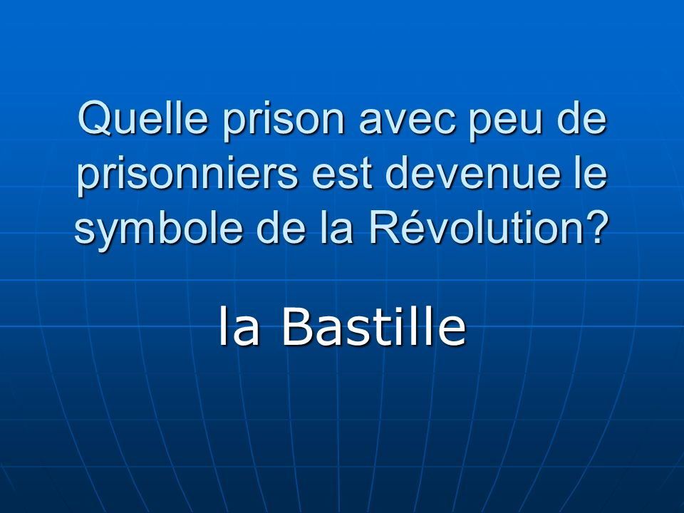 Quelle prison avec peu de prisonniers est devenue le symbole de la Révolution? la Bastille