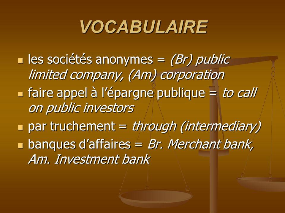 VOCABULAIRE les sociétés anonymes = (Br) public limited company, (Am) corporation les sociétés anonymes = (Br) public limited company, (Am) corporatio