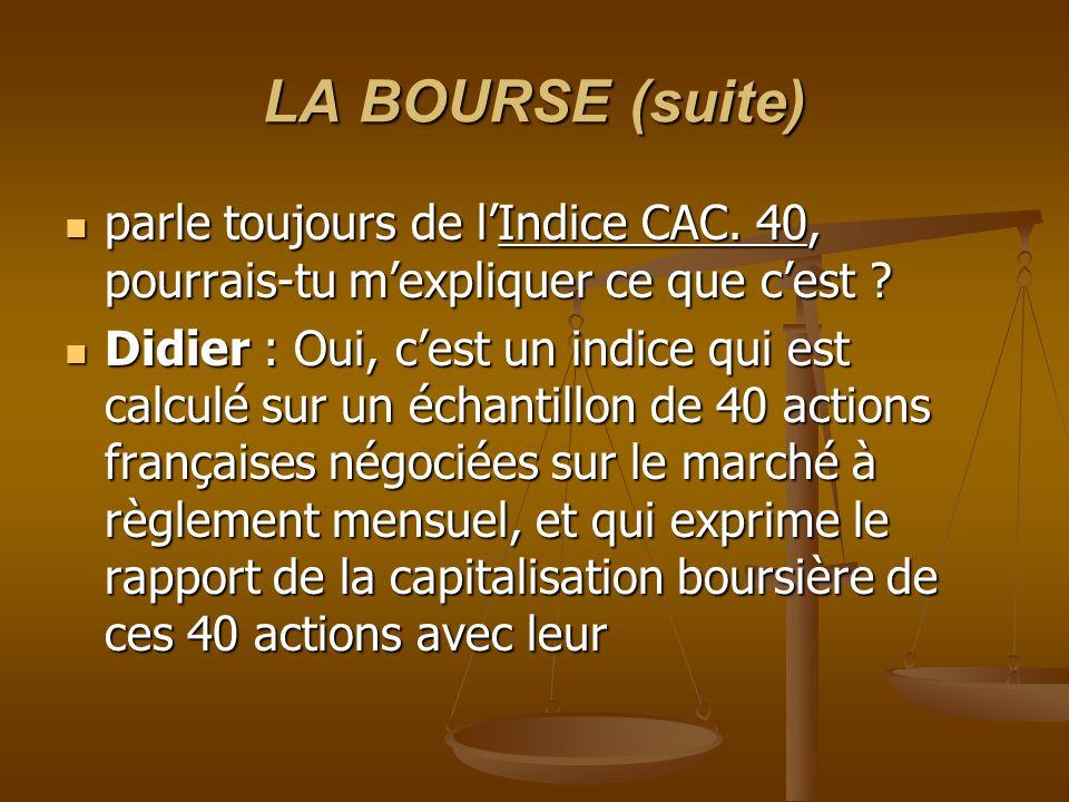 LA BOURSE (suite) parle toujours de lIndice CAC. 40, pourrais-tu mexpliquer ce que cest ? parle toujours de lIndice CAC. 40, pourrais-tu mexpliquer ce