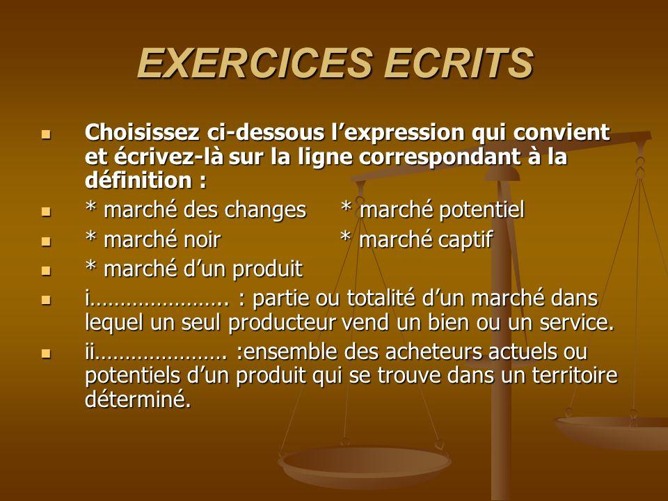 EXERCICES ECRITS Choisissez ci-dessous lexpression qui convient et écrivez-là sur la ligne correspondant à la définition : Choisissez ci-dessous lexpr