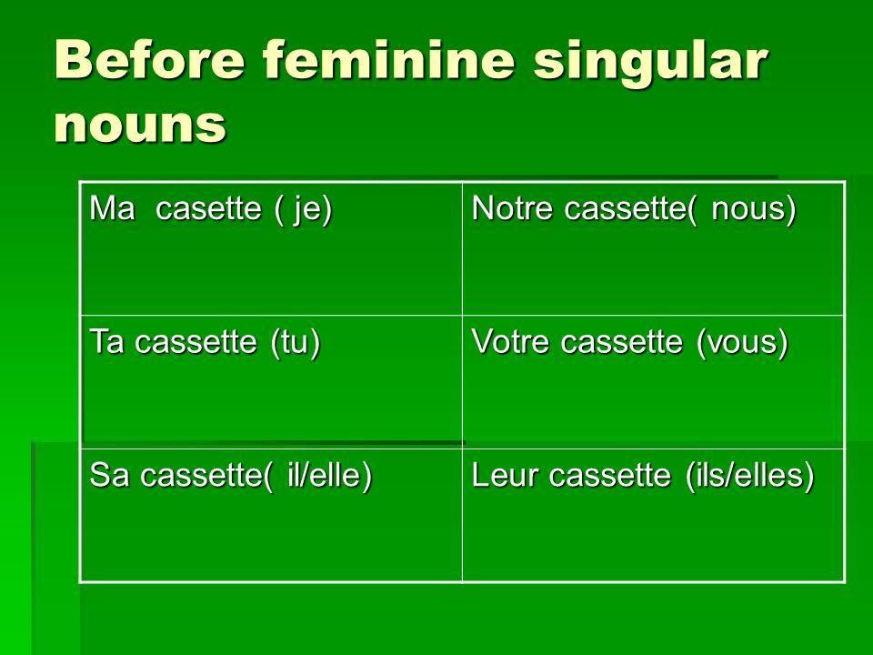 Before feminine singular nouns Ma casette ( je) Notre cassette( nous) Ta cassette (tu) Votre cassette (vous) Sa cassette( il/elle) Leur cassette (ils/