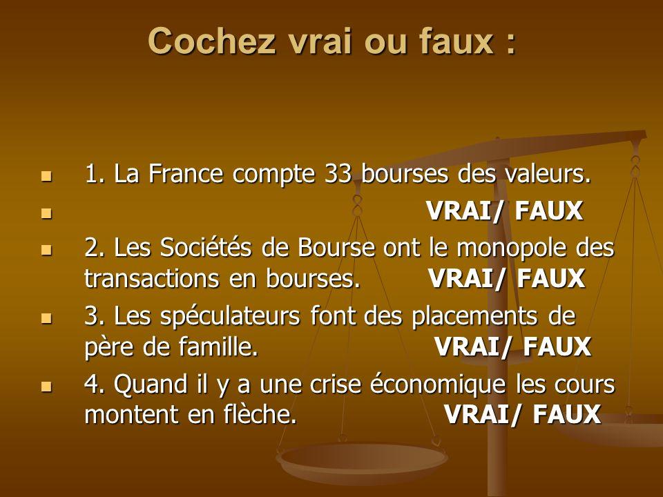 Cochez vrai ou faux : 1. La France compte 33 bourses des valeurs. 1. La France compte 33 bourses des valeurs. VRAI/ FAUX VRAI/ FAUX 2. Les Sociétés de