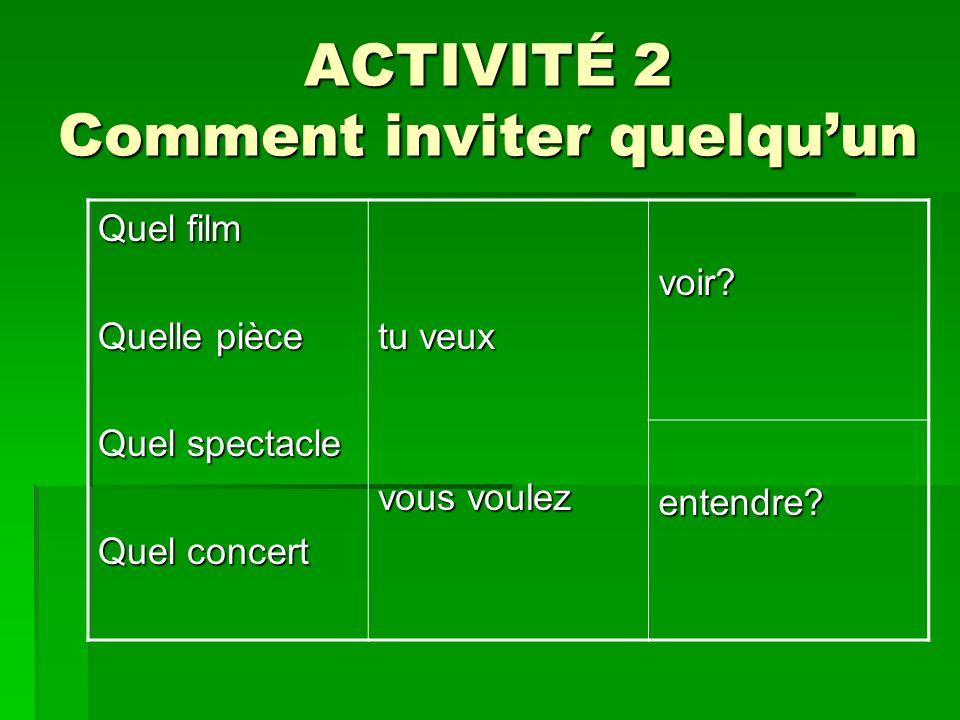 ACTIVITÉ 2 Comment inviter quelquun Quel film Quelle pièce Quel spectacle Quel concert tu veux vous voulez voir? entendre?