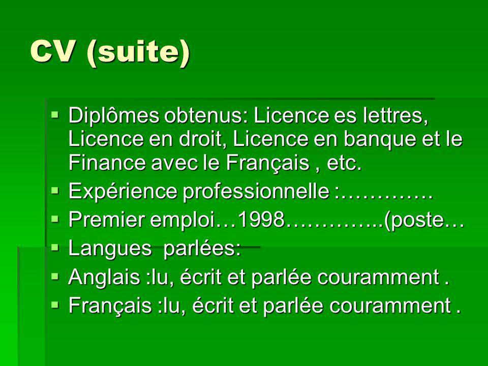 CV (suite) Diplômes obtenus: Licence es lettres, Licence en droit, Licence en banque et le Finance avec le Français, etc.