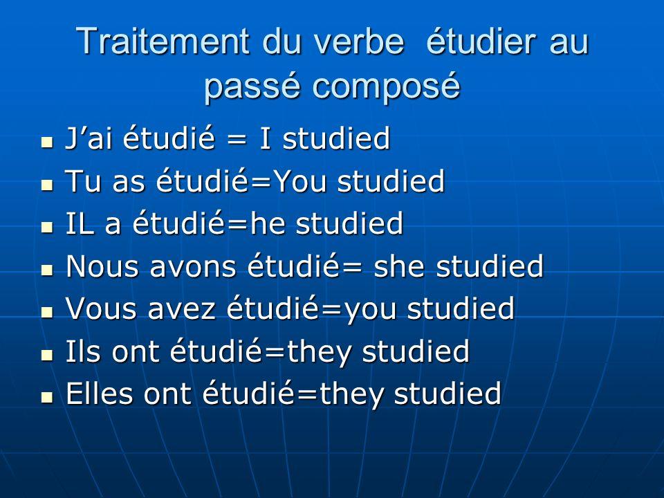 Traitement du verbe étudier au passé composé Jai étudié = I studied Jai étudié = I studied Tu as étudié=You studied Tu as étudié=You studied IL a étud