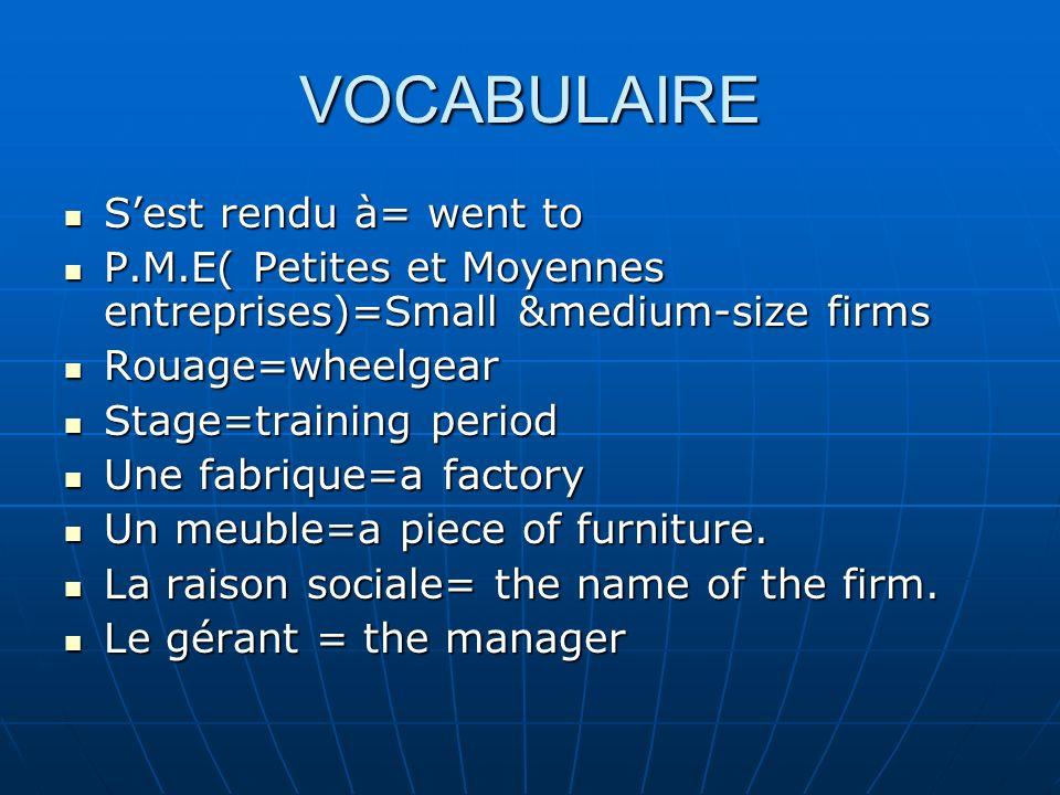 VOCABULAIRE Sest rendu à= went to Sest rendu à= went to P.M.E( Petites et Moyennes entreprises)=Small &medium-size firms P.M.E( Petites et Moyennes en