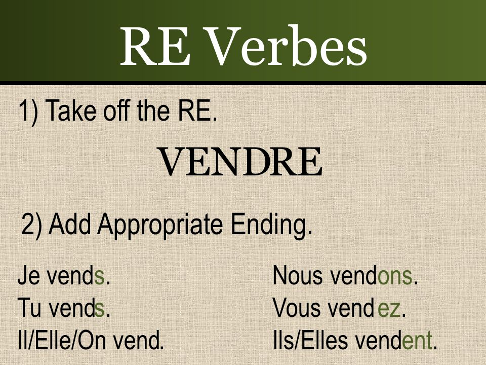 RE Verbes 1) Take off the RE.VENDRE 2) Add Appropriate Ending.