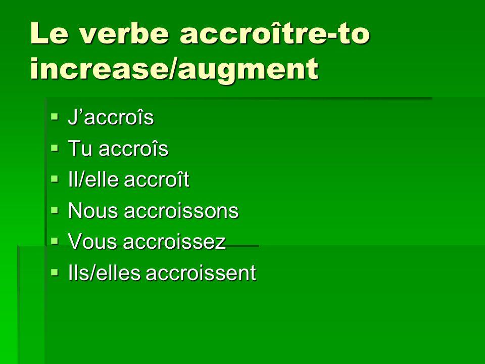 Le verbe accroître-to increase/augment Jaccroîs Jaccroîs Tu accroîs Tu accroîs Il/elle accroît Il/elle accroît Nous accroissons Nous accroissons Vous accroissez Vous accroissez Ils/elles accroissent Ils/elles accroissent