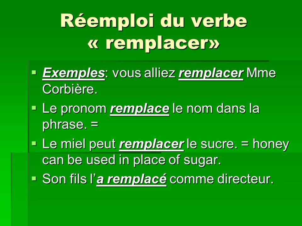 Réemploi du verbe « remplacer» Exemples: vous alliez remplacer Mme Corbière.