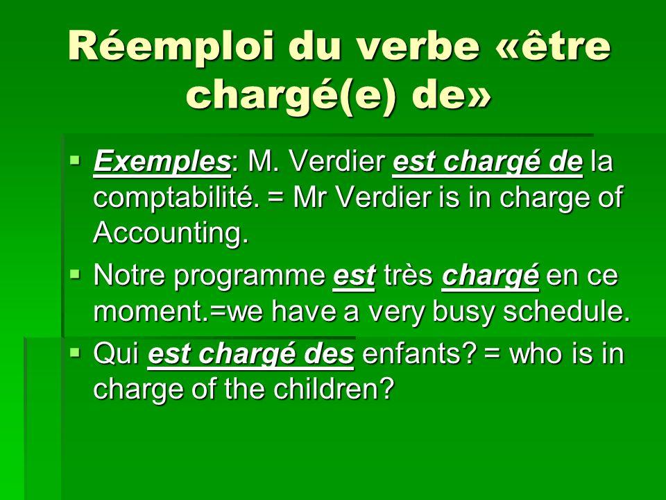 Réemploi du verbe «être chargé(e) de» Exemples: M.