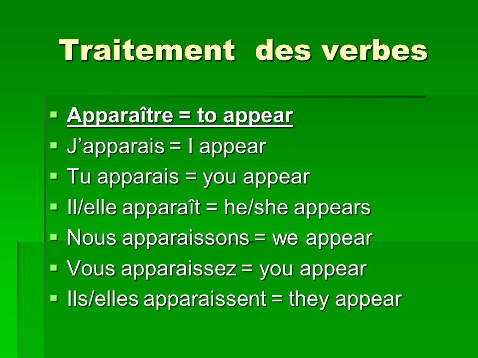 Traitement des verbes Apparaître = to appear Apparaître = to appear Japparais = I appear Japparais = I appear Tu apparais = you appear Tu apparais = you appear Il/elle apparaît = he/she appears Il/elle apparaît = he/she appears Nous apparaissons = we appear Nous apparaissons = we appear Vous apparaissez = you appear Vous apparaissez = you appear Ils/elles apparaissent = they appear Ils/elles apparaissent = they appear