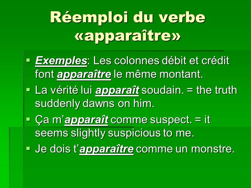 Réemploi du verbe «apparaître» Exemples: Les colonnes débit et crédit font apparaître le même montant.