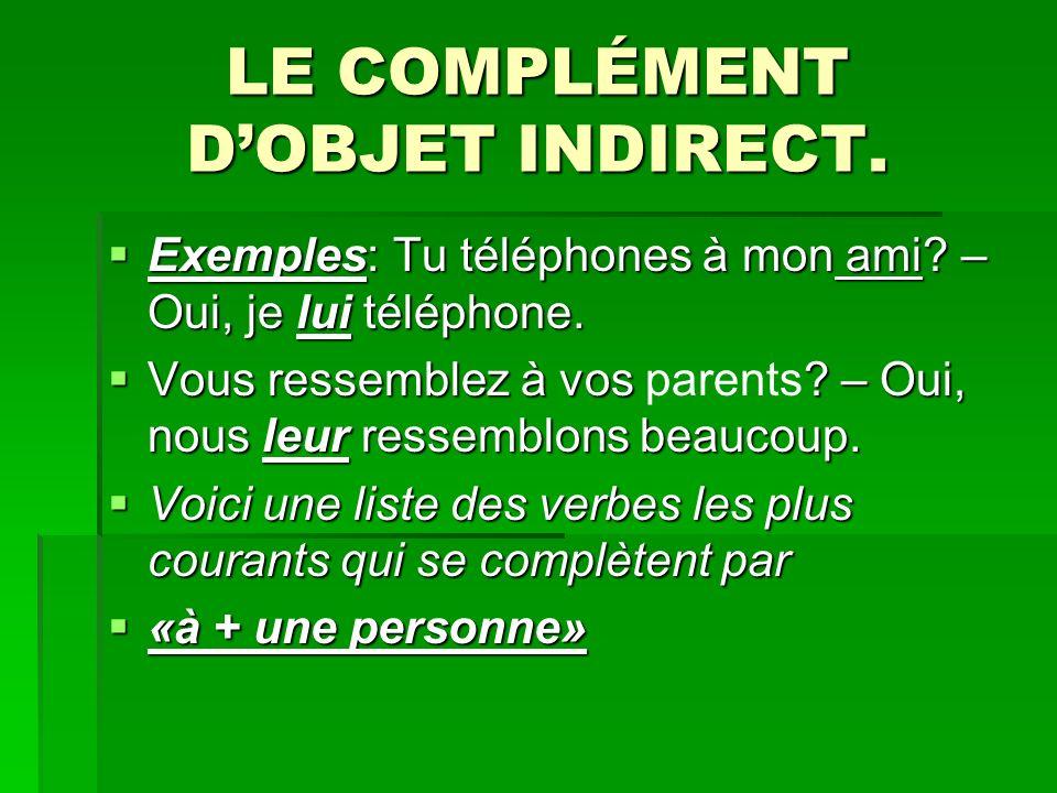 LE COMPLÉMENT DOBJET INDIRECT. Exemples: Tu téléphones à mon ami? – Oui, je lui téléphone. Exemples: Tu téléphones à mon ami? – Oui, je lui téléphone.