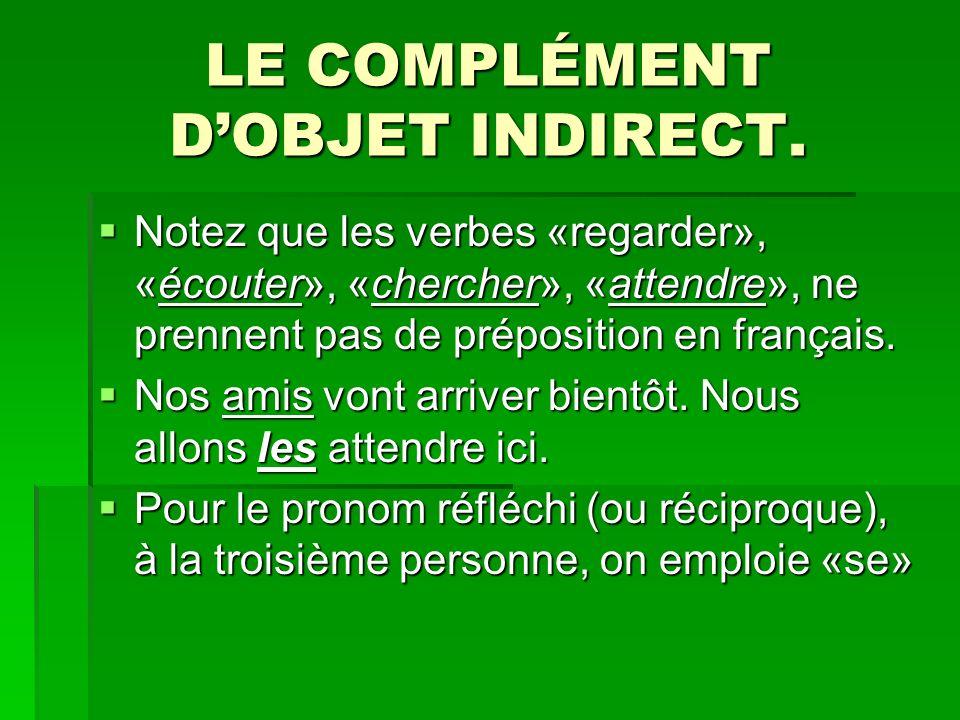 LE COMPLÉMENT DOBJET INDIRECT. Notez que les verbes «regarder», «écouter», «chercher», «attendre», ne prennent pas de préposition en français. Notez q