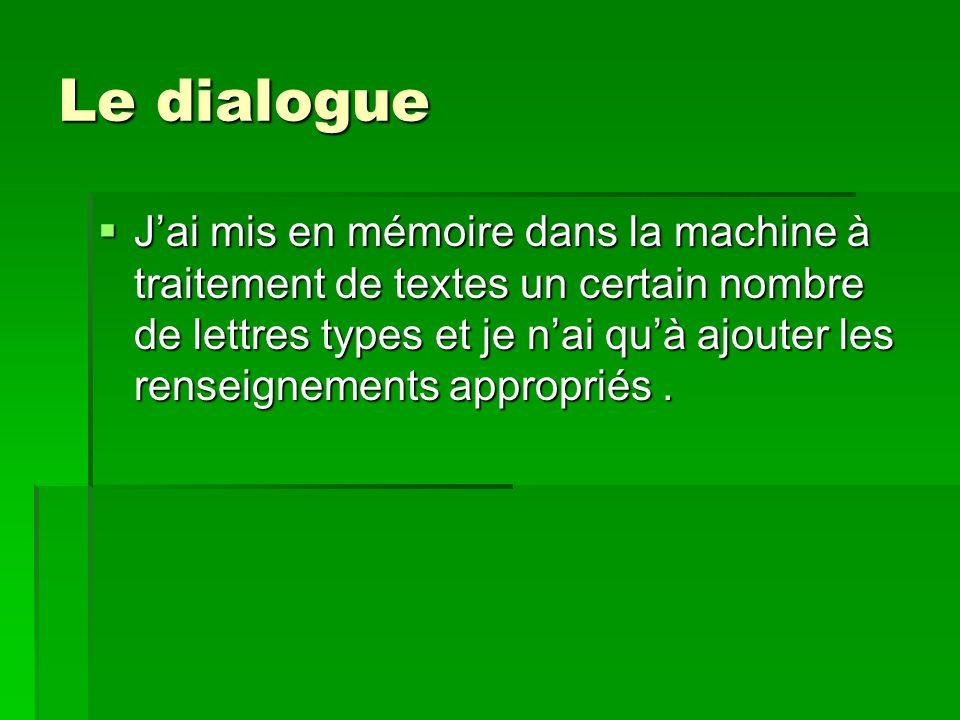Le dialogue PAUL:Par exemple .PAUL:Par exemple .