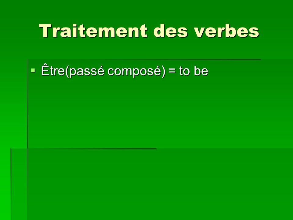 Traitement des verbes Être(passé composé) = to be Être(passé composé) = to be