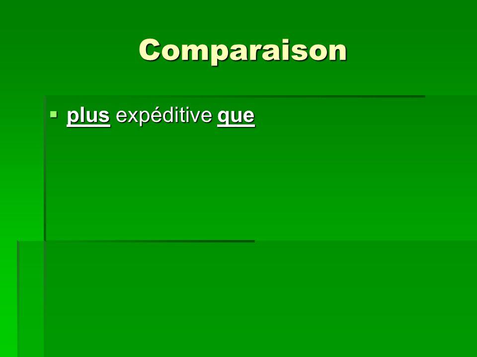 Comparaison plus expéditive que plus expéditive que