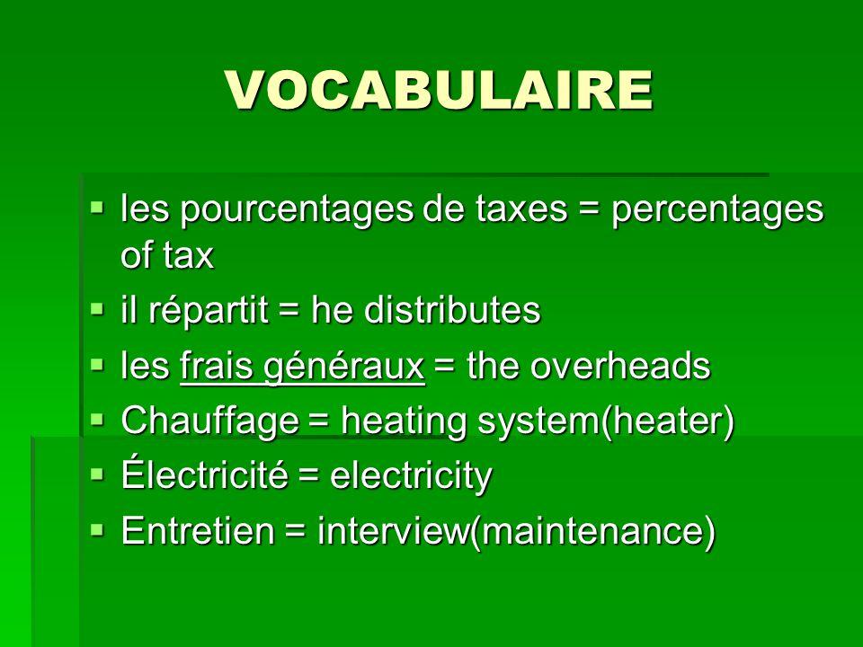 VOCABULAIRE les pourcentages de taxes = percentages of tax les pourcentages de taxes = percentages of tax il répartit = he distributes il répartit = h