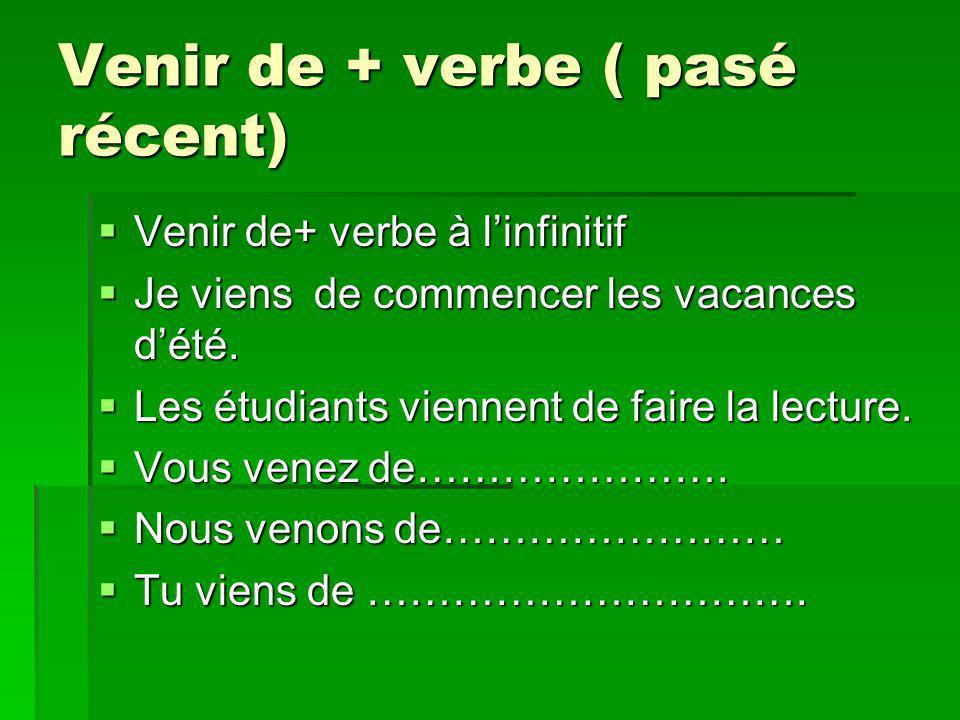 Venir de + verbe ( pasé récent) Venir de+ verbe à linfinitif Venir de+ verbe à linfinitif Je viens de commencer les vacances dété. Je viens de commenc