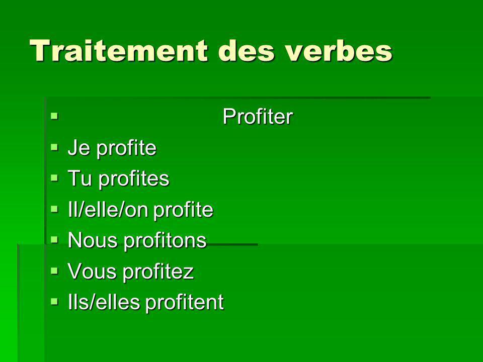 Traitement des verbes Profiter Profiter Je profite Je profite Tu profites Tu profites Il/elle/on profite Il/elle/on profite Nous profitons Nous profit