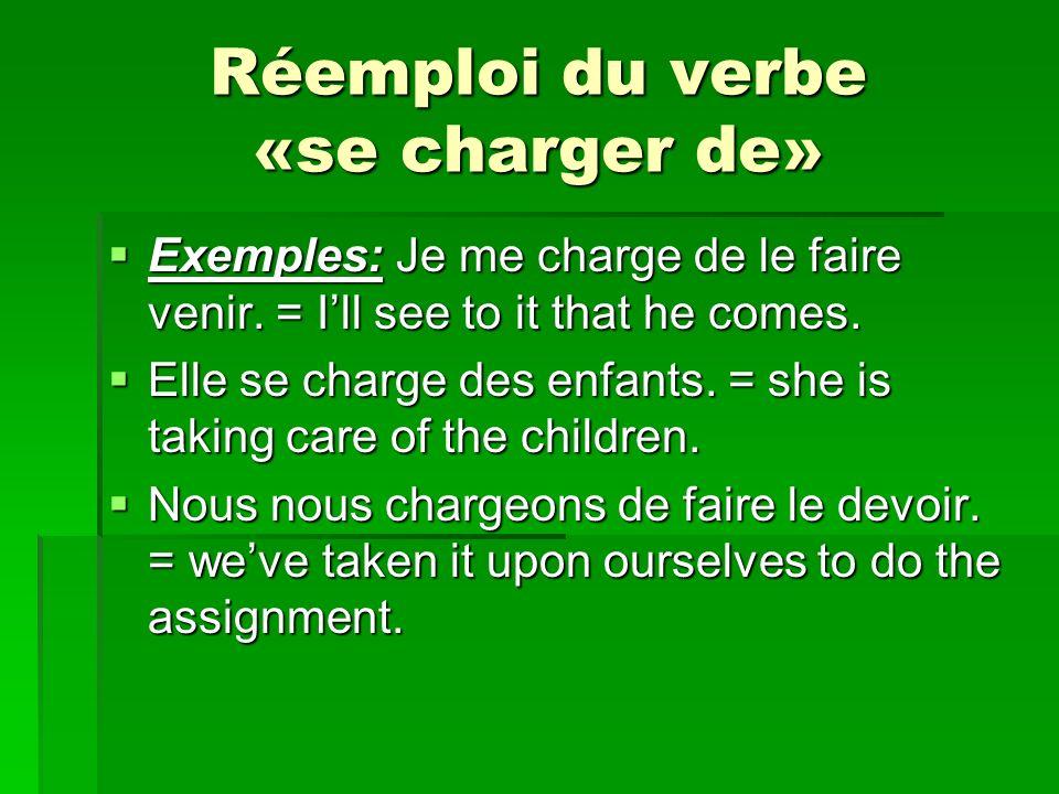 Réemploi du verbe «se charger de» Exemples: Je me charge de le faire venir. = Ill see to it that he comes. Exemples: Je me charge de le faire venir. =